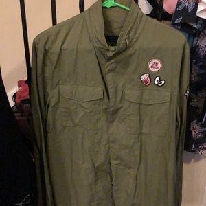 Zara Men olive long sleeve top size L